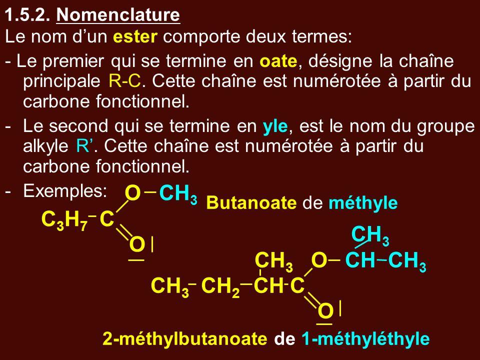 1.5.2. Nomenclature Le nom d'un ester comporte deux termes: - Le premier qui se termine en oate, désigne la chaîne principale R-C. Cette chaîne est nu