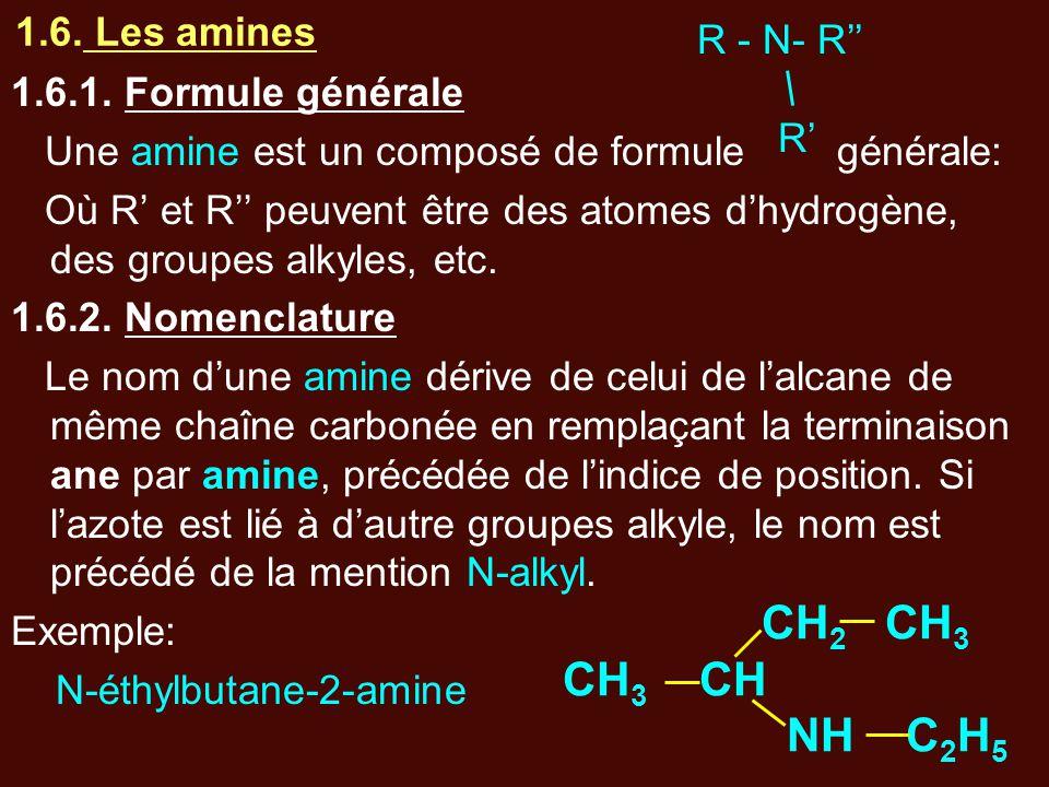 1.6. Les amines 1.6.1. Formule générale Une amine est un composé de formule générale: Où R' et R'' peuvent être des atomes d'hydrogène, des groupes al