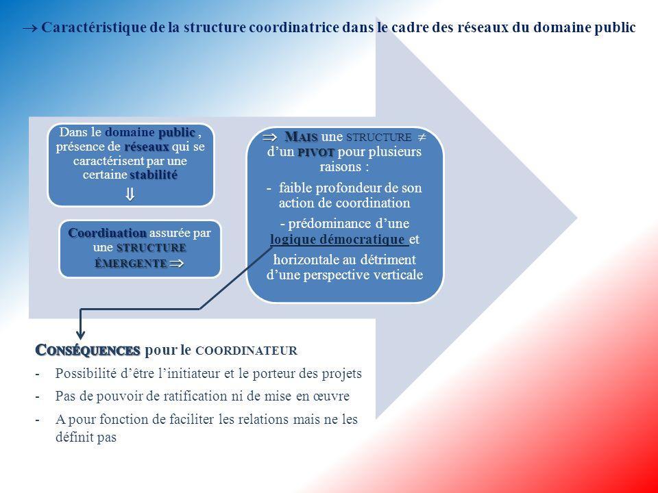  Principaux rôles pouvant être joués par les acteurs coordinateurs architecte - architecte du réseau facilitateur - facilitateur des relations définition - définition de la stratégie contrôle - contrôle de la stratégie et de la cohésion  Autre rôle pouvant être joué par les acteurs coordinateurs ENTREPRENEUR INSTITUTIONNELS - ENTREPRENEUR INSTITUTIONNELS influant sur le sentiment d'appartenance, l'identité du réseau, les règles, les normes ou les valeurs communes, la légitimité du réseau, la confiance