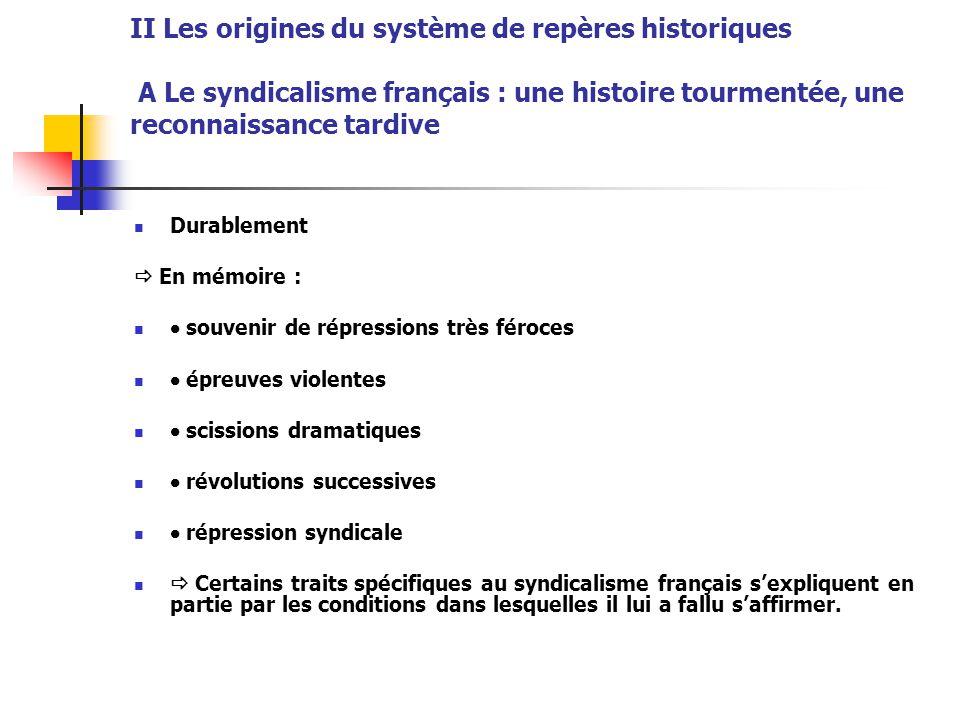 II Les origines du système de repères historiques A Le syndicalisme français : une histoire tourmentée, une reconnaissance tardive Durablement  En mé