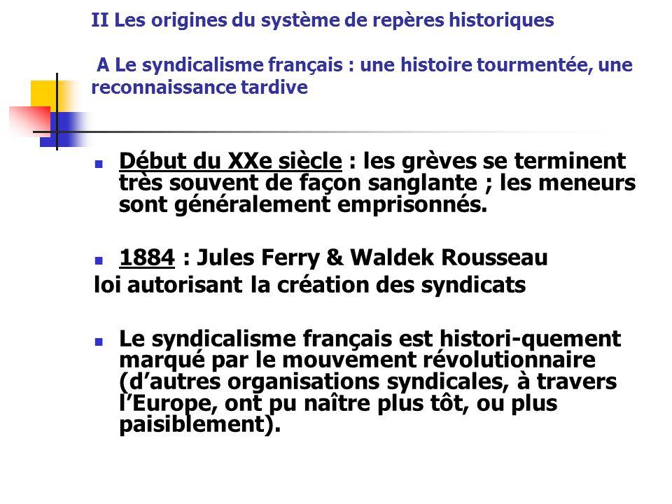 II Les origines du système de repères historiques A Le syndicalisme français : une histoire tourmentée, une reconnaissance tardive Début du XXe siècle