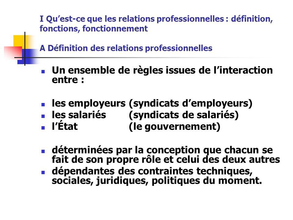 I Qu'est-ce que les relations professionnelles : définition, fonctions, fonctionnement A Définition des relations professionnelles Un ensemble de règl