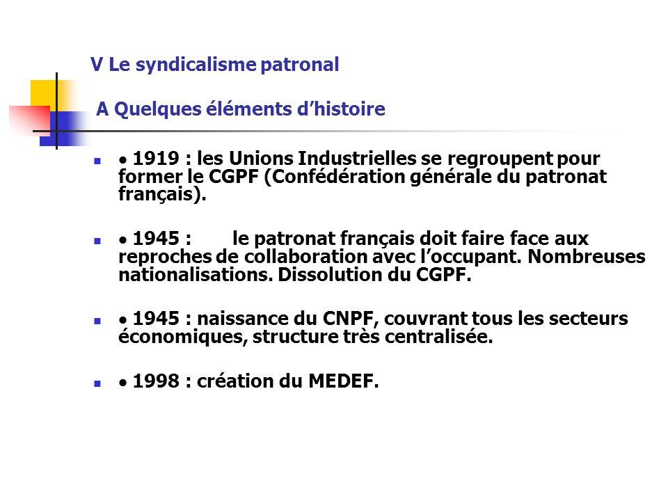 V Le syndicalisme patronal A Quelques éléments d'histoire  1919 : les Unions Industrielles se regroupent pour former le CGPF (Confédération générale