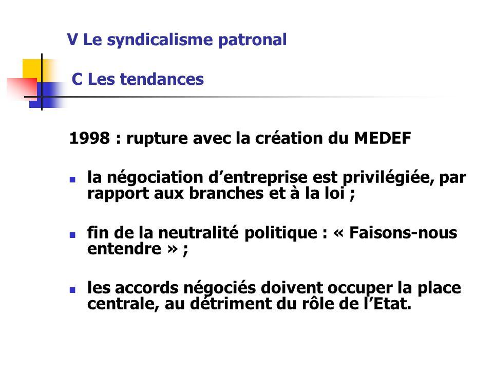 V Le syndicalisme patronal C Les tendances 1998 : rupture avec la création du MEDEF la négociation d'entreprise est privilégiée, par rapport aux branc