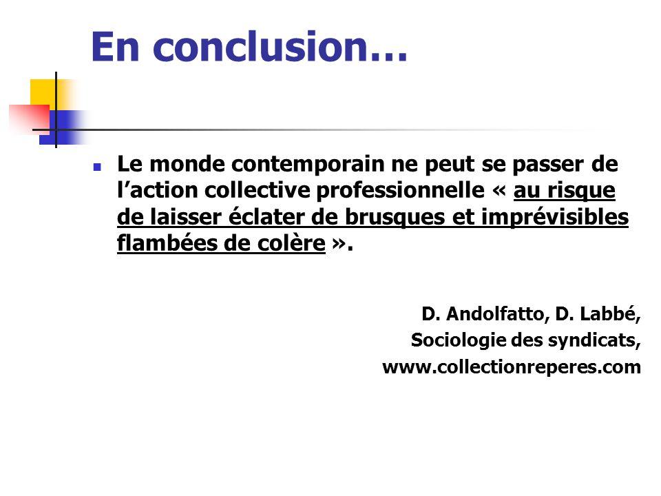 En conclusion… Le monde contemporain ne peut se passer de l'action collective professionnelle « au risque de laisser éclater de brusques et imprévisib