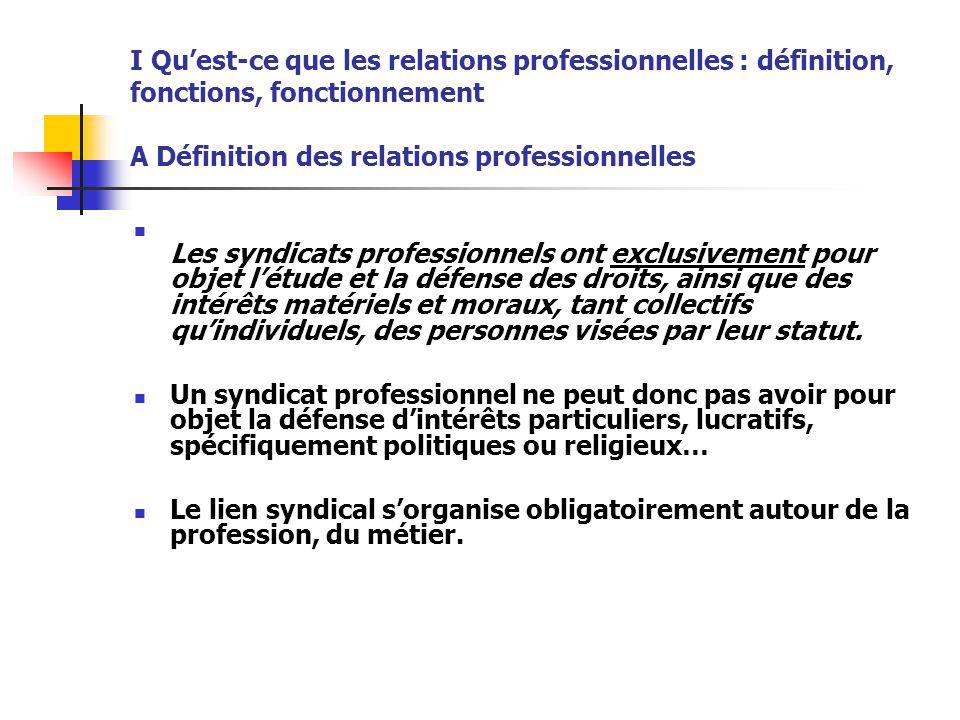 I Qu'est-ce que les relations professionnelles : définition, fonctions, fonctionnement A Définition des relations professionnelles Les syndicats profe