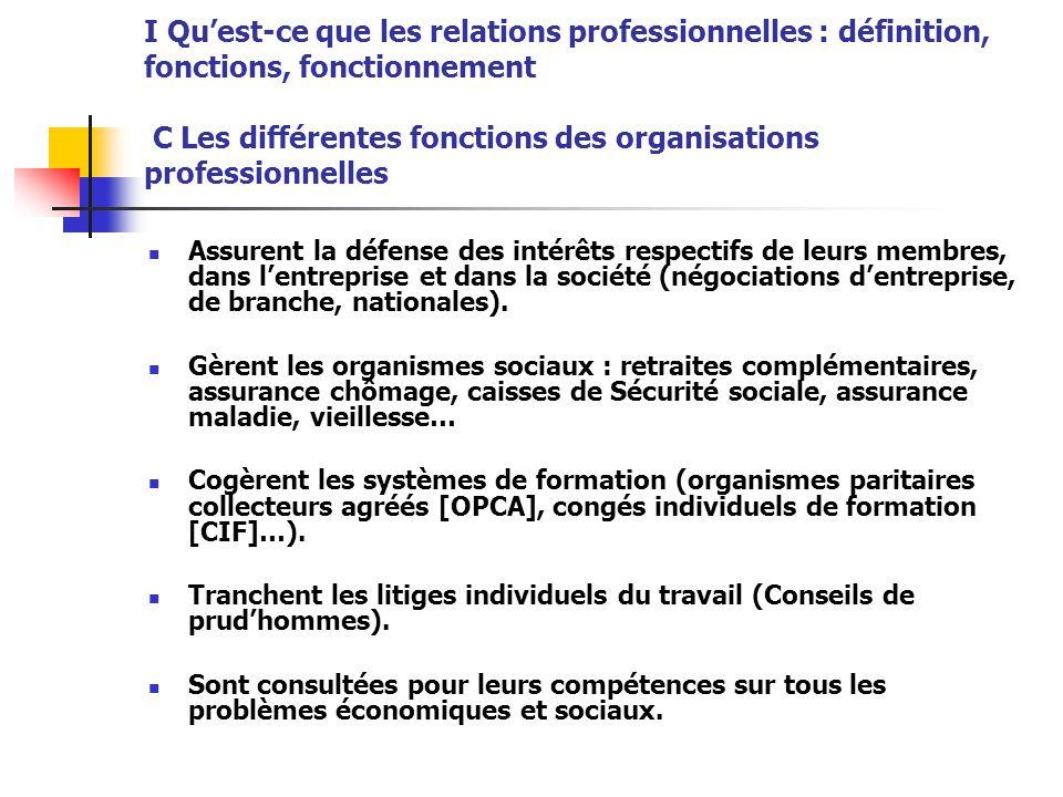 I Qu'est-ce que les relations professionnelles : définition, fonctions, fonctionnement C Les différentes fonctions des organisations professionnelles