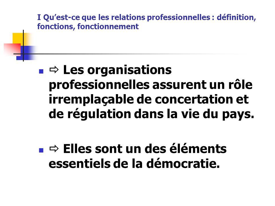 I Qu'est-ce que les relations professionnelles : définition, fonctions, fonctionnement  Les organisations professionnelles assurent un rôle irremplaç