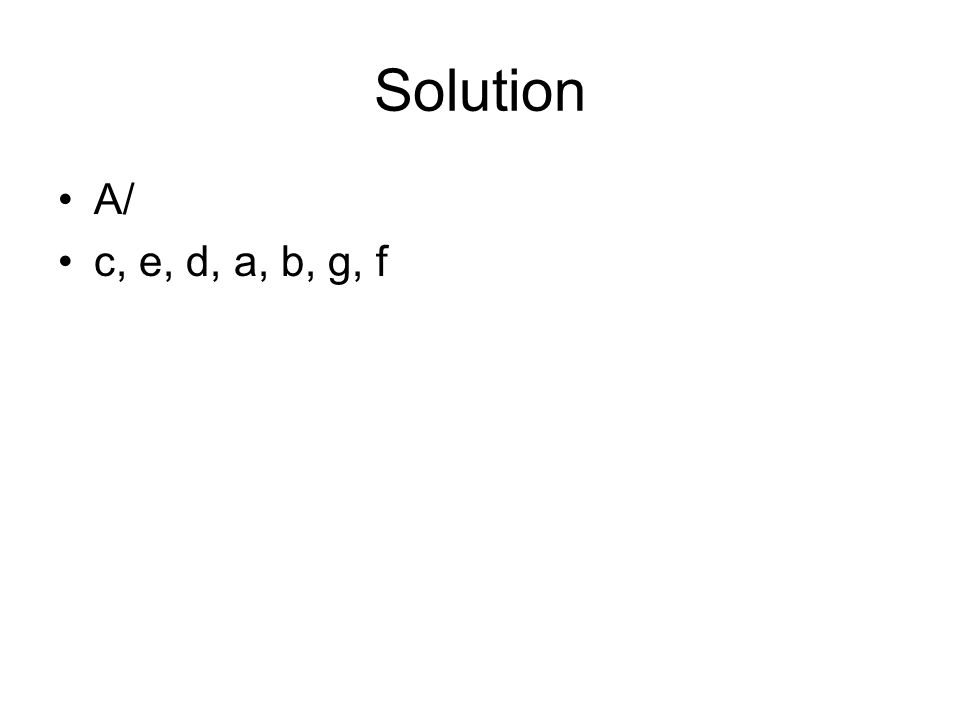 Solution A/ c, e, d, a, b, g, f