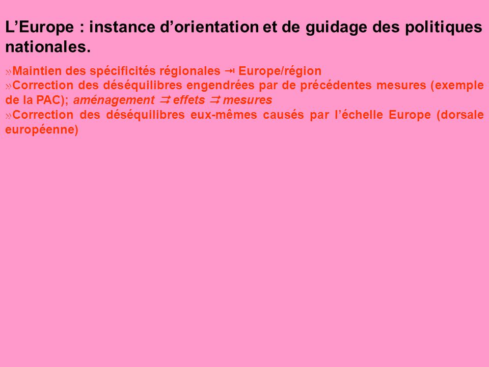 L'Europe : instance d'orientation et de guidage des politiques nationales.