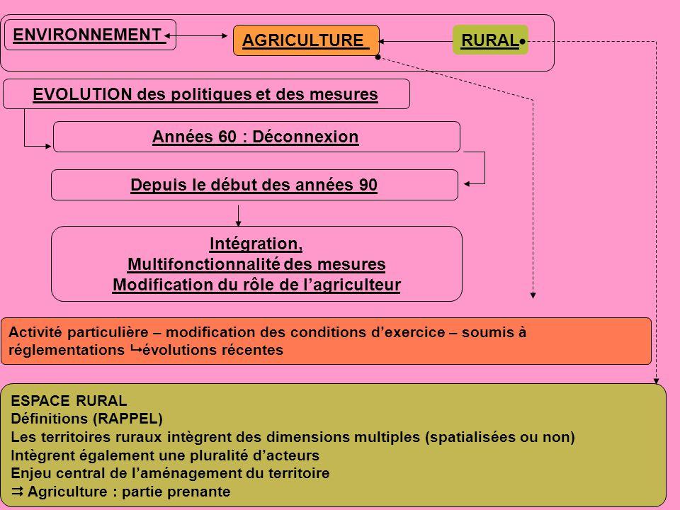 ENVIRONNEMENT AGRICULTURE EVOLUTION des politiques et des mesures Années 60 : Déconnexion Depuis le début des années 90 Intégration, Multifonctionnalité des mesures Modification du rôle de l'agriculteur RURAL ESPACE RURAL Définitions (RAPPEL) Les territoires ruraux intègrent des dimensions multiples (spatialisées ou non) Intègrent également une pluralité d'acteurs Enjeu central de l'aménagement du territoire  Agriculture : partie prenante Activité particulière – modification des conditions d'exercice – soumis à réglementations  évolutions récentes