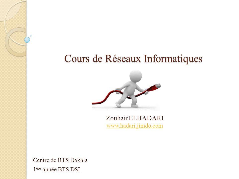 Cours de Réseaux Informatiques Zouhair ELHADARI www.hadari.jimdo.com Centre de BTS Dakhla 1 ère année BTS DSI