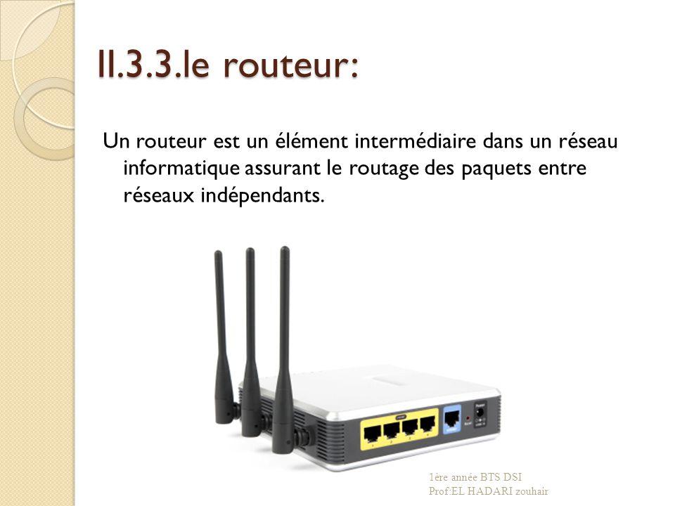 II.3.3.le routeur: Un routeur est un élément intermédiaire dans un réseau informatique assurant le routage des paquets entre réseaux indépendants.