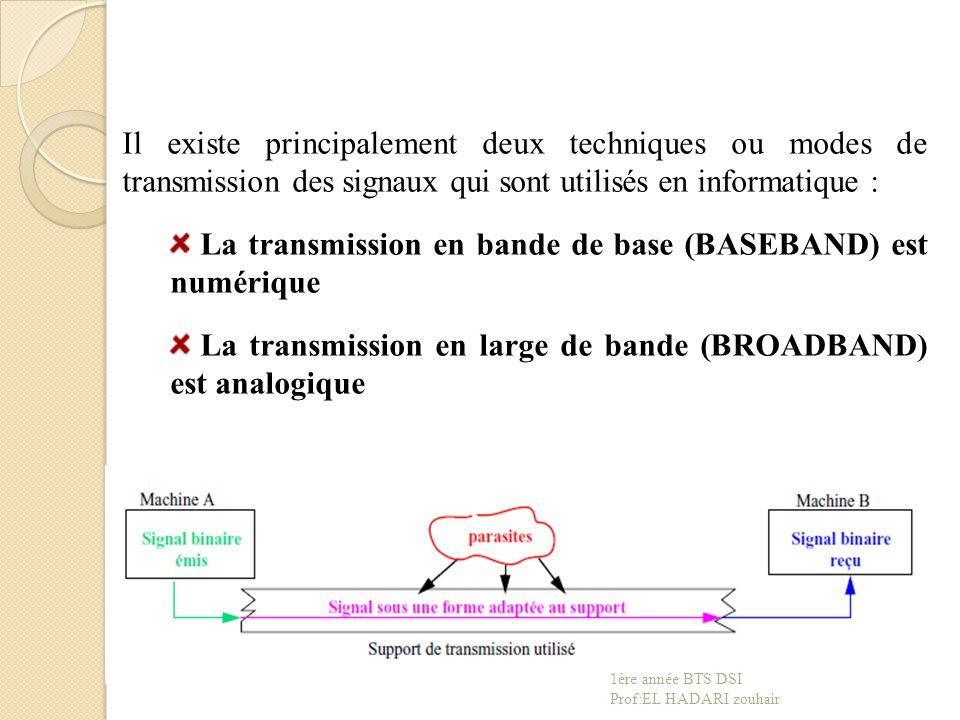 Il existe principalement deux techniques ou modes de transmission des signaux qui sont utilisés en informatique : La transmission en bande de base (BASEBAND) est numérique La transmission en large de bande (BROADBAND) est analogique 1ère année BTS DSI Prof:EL HADARI zouhair