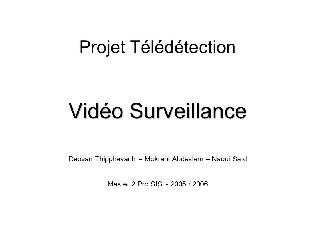 Projet Télédetection - Vidéo Surveillance - 2005/2006 12 Détection des objets mouvants Attribution des zones aux objets (2) Si un objet est trouvé, alors on lui ajoute la zone Sinon La zone peut correspondre à un nouveau objet Des critères comme l emplacement de la zone peuvent le confirmer On crée le nouveau objet La zone peut correspondre à un bruit Elle est ignorée