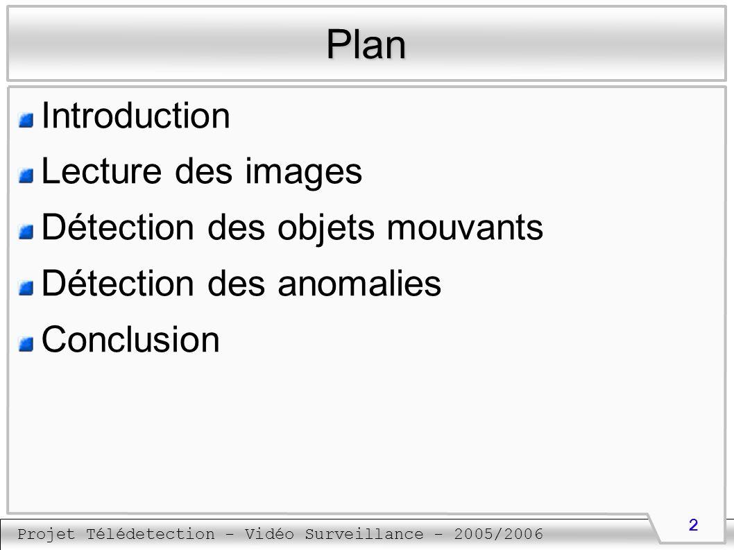 Projet Télédetection - Vidéo Surveillance - 2005/2006 13 Détection des objets mouvants Actualisation du fond (1) Important pour s adapter aux changements progressifs du fond Les pixels n appartenant pas à un objet sont actualisé dans l image du fond La valeur du pixel VP est calculée à partir de sa valeur dans l image actuelle VA et sa valeur dans l image du fond VF suivant un paramètre alpha qui peut varier entre 0 et 1 VP = alpha * VA + (1 – alpha) * VF