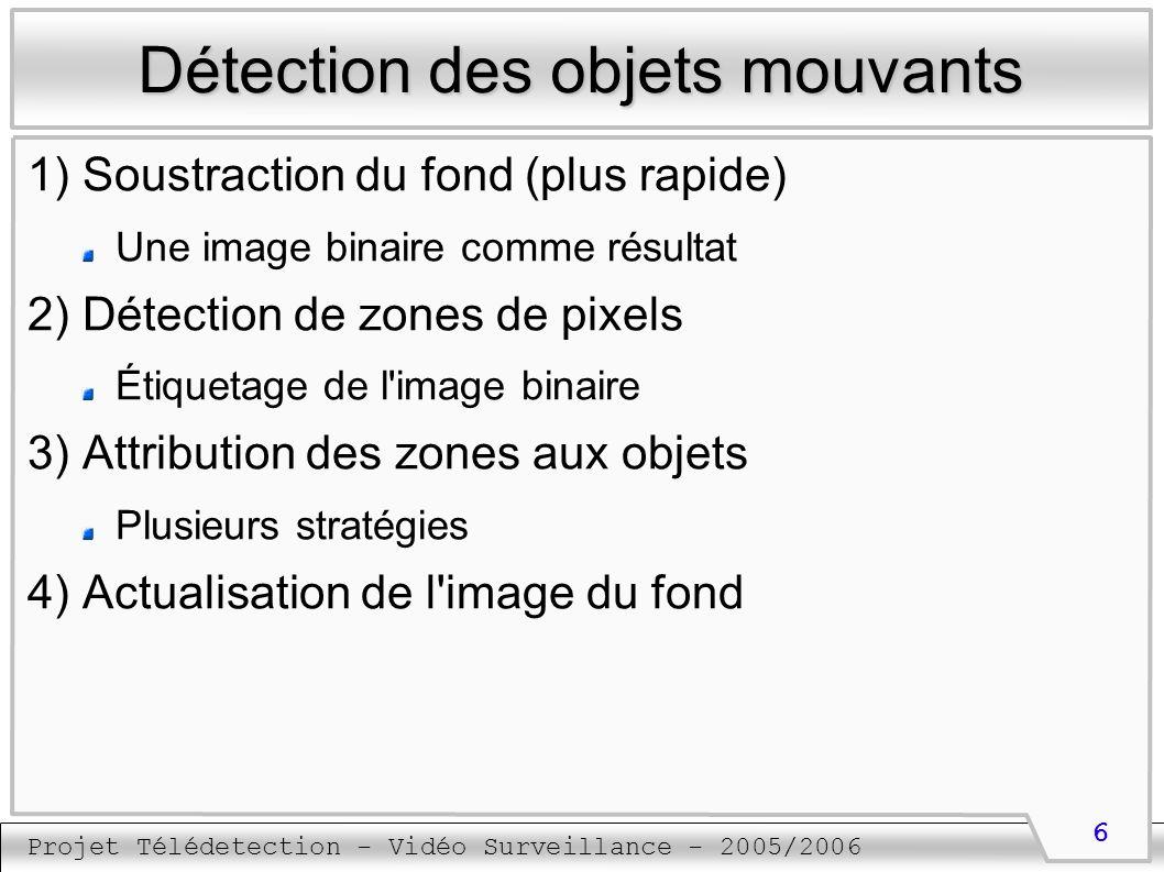 Projet Télédetection - Vidéo Surveillance - 2005/2006 7 Détection des objets mouvants Soustraction du fond On soustrait le fond de l image reçue Résultat : une image binaire avec Les pixels appartenant au fond mis à 0 Les pixels appartenant à un objet mouvant mis à 1 Plusieurs critères Différence des niveaux de gris des pixels Différence des couleurs Un ou plusieurs seuils de différence
