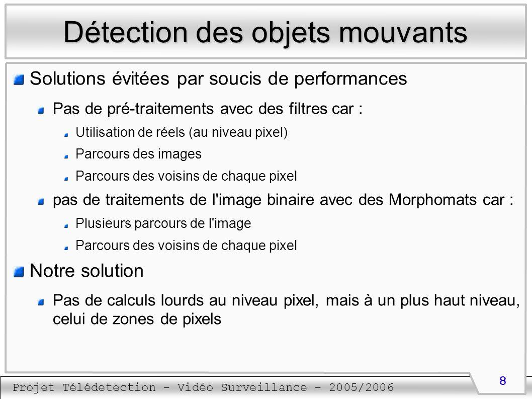Projet Télédetection - Vidéo Surveillance - 2005/2006 9 Détection des objets mouvants Détection des zones des pixels (1) Une zone correspond à tous les pixels allumés et voisins qui peuvent apparaître dans l image binaire La 4-connexité est utilisée Pour obtenir toutes les zones : étiquetage Les pixels appartenant à une même zone reçoivent la même étiquette Algorithme performant n effectuant que deux parcours de l image binaire