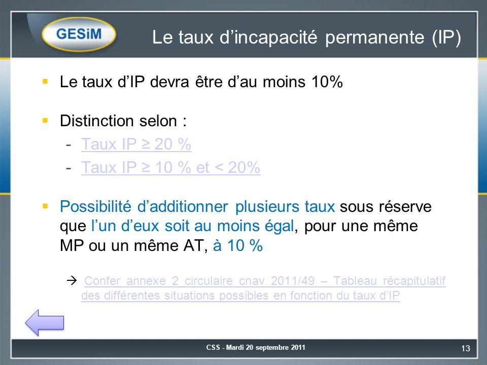 Le taux d'incapacité permanente (IP)  Le taux d'IP devra être d'au moins 10%  Distinction selon : -Taux IP ≥ 20 %Taux IP ≥ 20 % -Taux IP ≥ 10 % et < 20%Taux IP ≥ 10 % et < 20%  Possibilité d'additionner plusieurs taux sous réserve que l'un d'eux soit au moins égal, pour une même MP ou un même AT, à 10 %  Confer annexe 2 circulaire cnav 2011/49 – Tableau récapitulatif des différentes situations possibles en fonction du taux d'IPConfer annexe 2 circulaire cnav 2011/49 – Tableau récapitulatif des différentes situations possibles en fonction du taux d'IP CSS - Mardi 20 septembre 2011 13