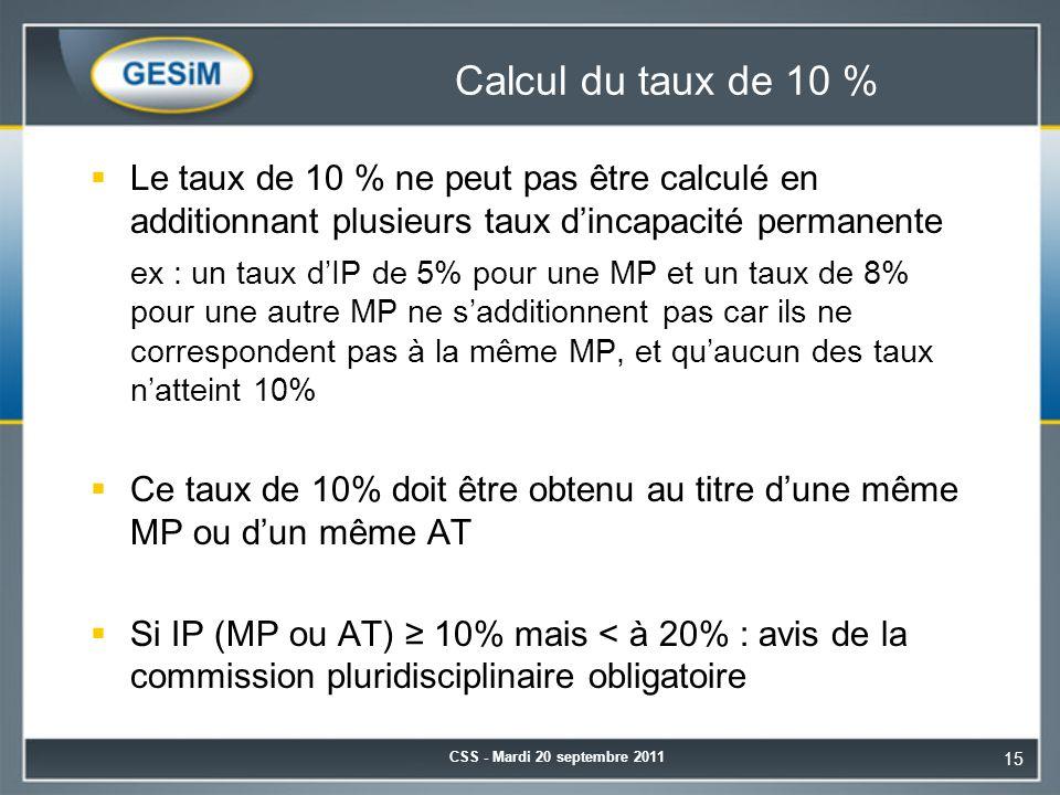 Calcul du taux de 10 %  Le taux de 10 % ne peut pas être calculé en additionnant plusieurs taux d'incapacité permanente ex : un taux d'IP de 5% pour une MP et un taux de 8% pour une autre MP ne s'additionnent pas car ils ne correspondent pas à la même MP, et qu'aucun des taux n'atteint 10%  Ce taux de 10% doit être obtenu au titre d'une même MP ou d'un même AT  Si IP (MP ou AT) ≥ 10% mais < à 20% : avis de la commission pluridisciplinaire obligatoire CSS - Mardi 20 septembre 2011 15
