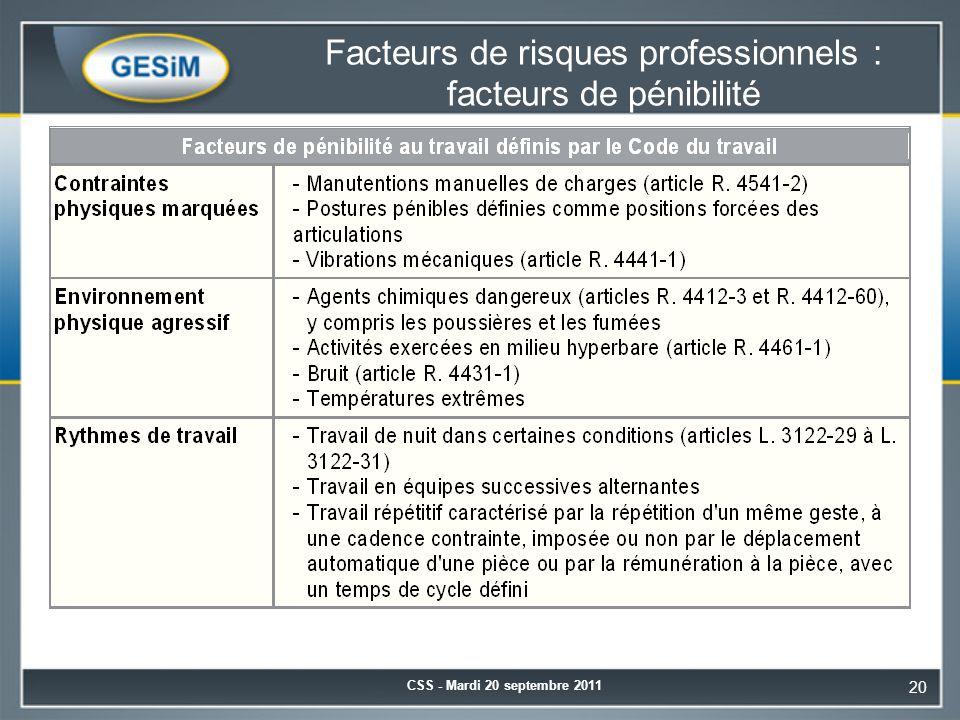 Facteurs de risques professionnels : facteurs de pénibilité CSS - Mardi 20 septembre 2011 20