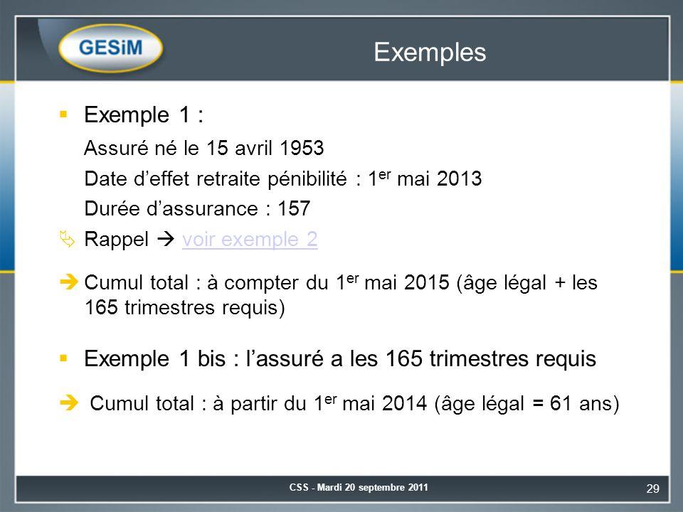 Exemples  Exemple 1 : Assuré né le 15 avril 1953 Date d'effet retraite pénibilité : 1 er mai 2013 Durée d'assurance : 157  Rappel  voir exemple 2voir exemple 2  Cumul total : à compter du 1 er mai 2015 (âge légal + les 165 trimestres requis)  Exemple 1 bis : l'assuré a les 165 trimestres requis  Cumul total : à partir du 1 er mai 2014 (âge légal = 61 ans) CSS - Mardi 20 septembre 2011 29
