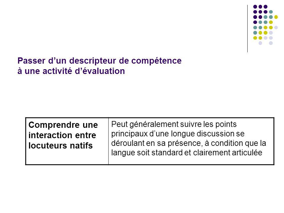 Passer d'un descripteur de compétence à une activité d'évaluation Comprendre une interaction entre locuteurs natifs Peut généralement suivre les point