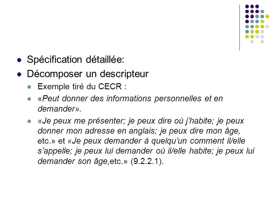 Spécification détaillée: Décomposer un descripteur Exemple tiré du CECR : «Peut donner des informations personnelles et en demander». «Je peux me prés