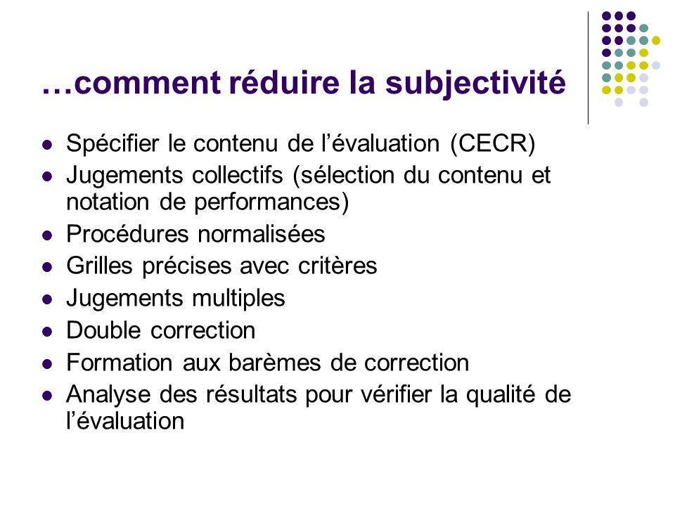 …comment réduire la subjectivité Spécifier le contenu de l'évaluation (CECR) Jugements collectifs (sélection du contenu et notation de performances) P