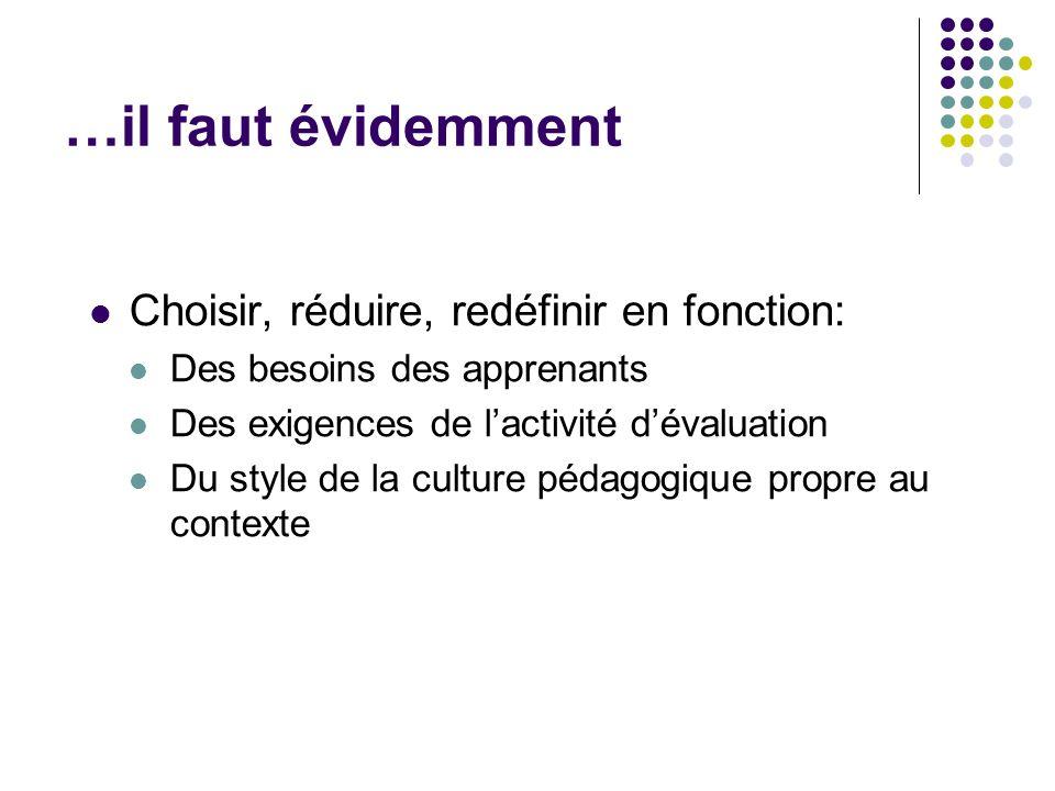 …il faut évidemment Choisir, réduire, redéfinir en fonction: Des besoins des apprenants Des exigences de l'activité d'évaluation Du style de la cultur