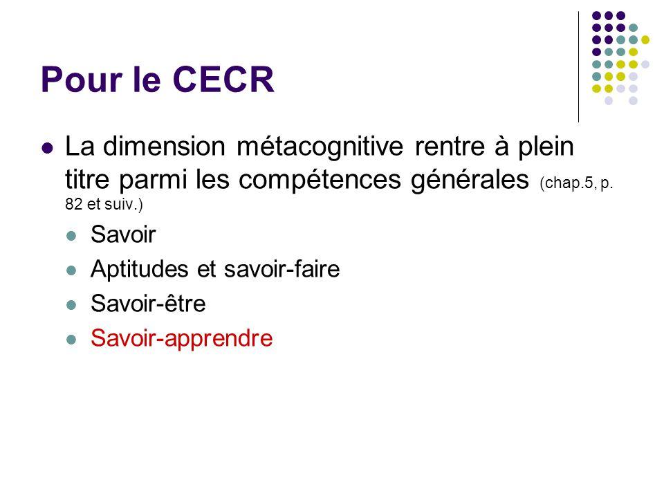 Pour le CECR La dimension métacognitive rentre à plein titre parmi les compétences générales (chap.5, p. 82 et suiv.) Savoir Aptitudes et savoir-faire