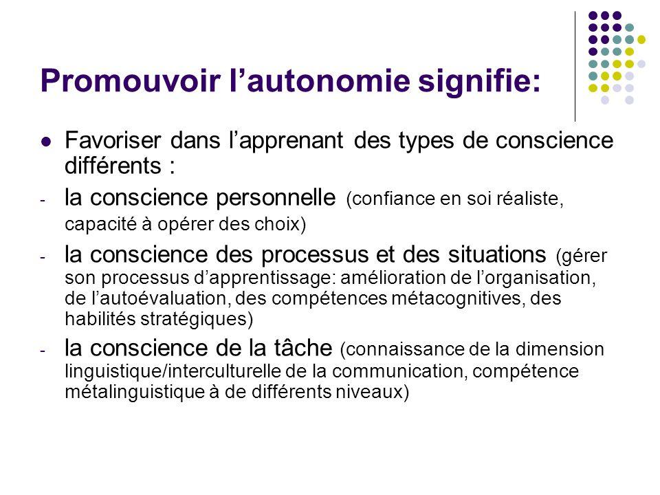 Promouvoir l'autonomie signifie: Favoriser dans l'apprenant des types de conscience différents : - la conscience personnelle (confiance en soi réalist