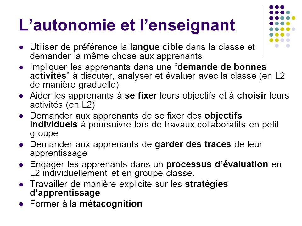 L'autonomie et l'enseignant Utiliser de préférence la langue cible dans la classe et demander la même chose aux apprenants Impliquer les apprenants da