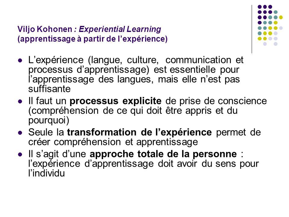 Viljo Kohonen : Experiential Learning (apprentissage à partir de l'expérience) L'expérience (langue, culture, communication et processus d'apprentissa