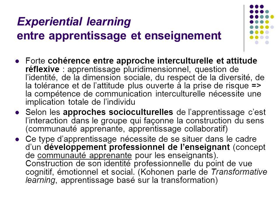 Experiential learning entre apprentissage et enseignement Forte cohérence entre approche interculturelle et attitude réflexive : apprentissage pluridi