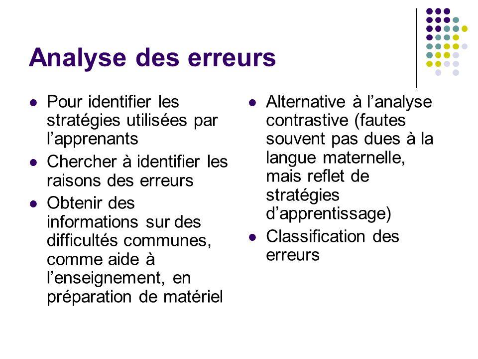 Analyse des erreurs Pour identifier les stratégies utilisées par l'apprenants Chercher à identifier les raisons des erreurs Obtenir des informations s