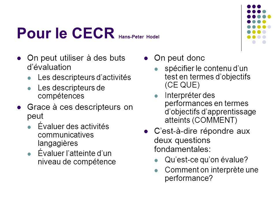 Pour le CECR Hans-Peter Hodel On peut utiliser à des buts d'évaluation Les descripteurs d'activités Les descripteurs de compétences Grace à ces descri