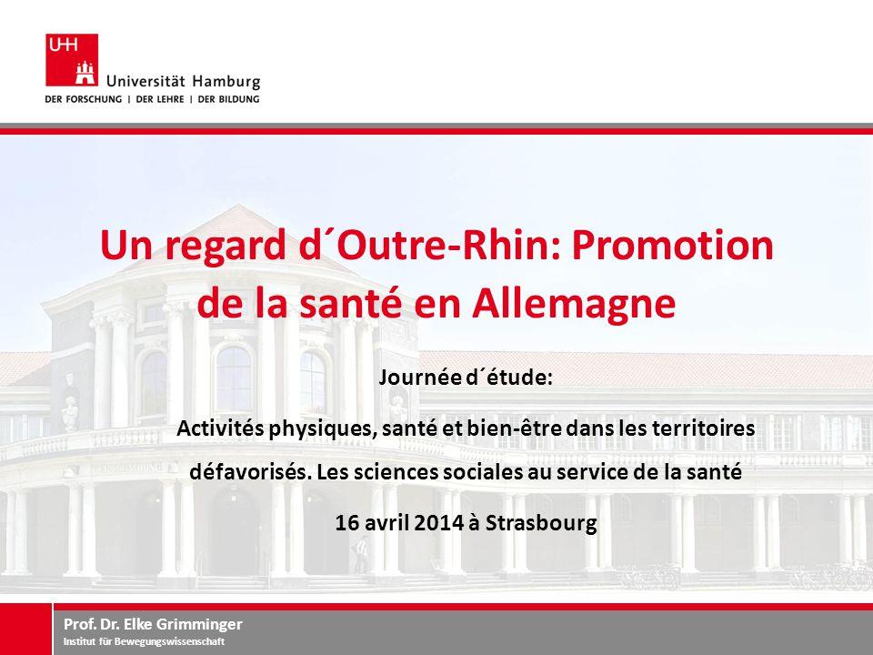 Prof. Dr. Elke Grimminger Institut für Bewegungswissenschaft Un regard d´Outre-Rhin: Promotion de la santé en Allemagne Journée d´étude: Activités phy