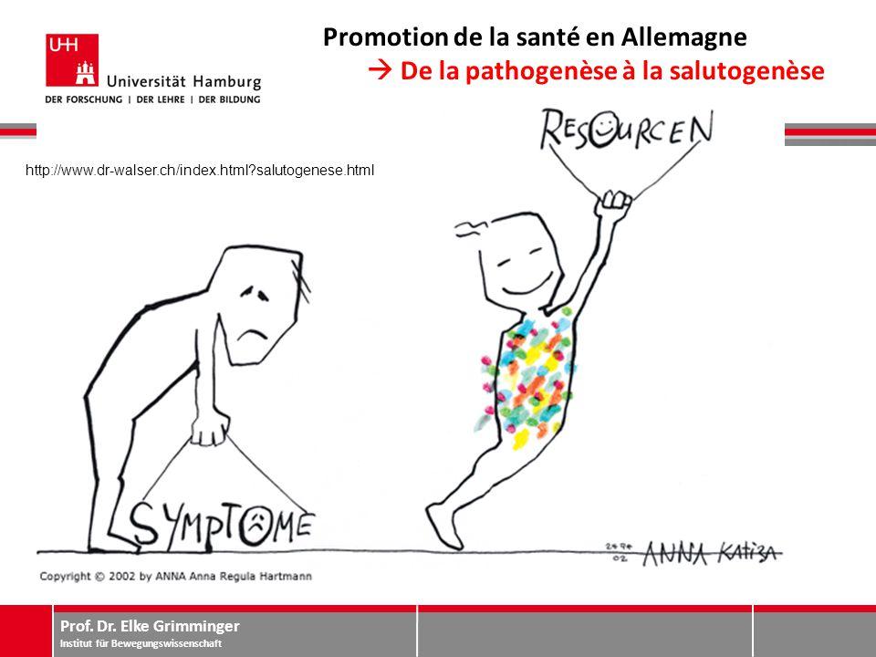 Prof. Dr. Elke Grimminger Institut für Bewegungswissenschaft Promotion de la santé en Allemagne  De la pathogenèse à la salutogenèse http://www.dr-wa