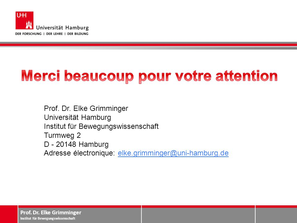 Prof. Dr. Elke Grimminger Institut für Bewegungswissenschaft Prof. Dr. Elke Grimminger Universität Hamburg Institut für Bewegungswissenschaft Turmweg