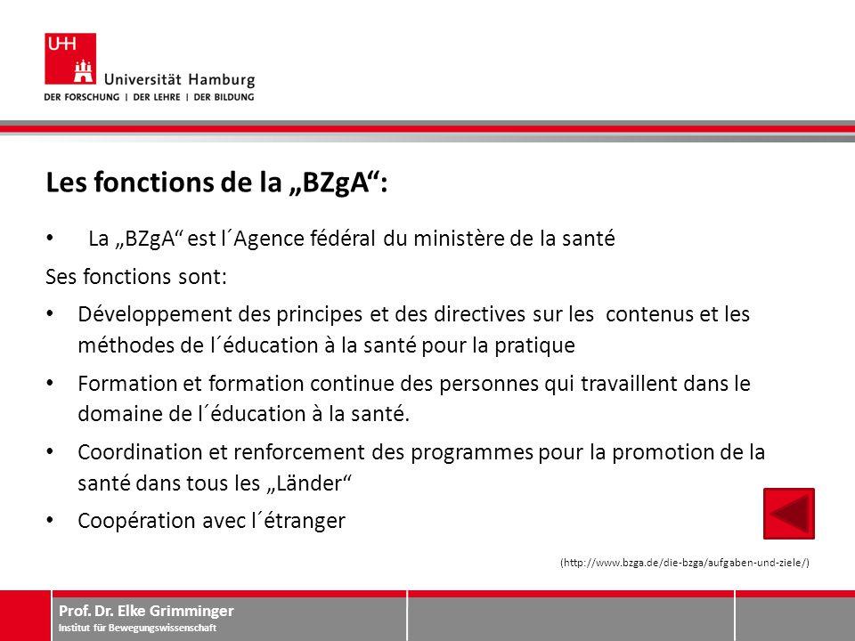 """Prof. Dr. Elke Grimminger Institut für Bewegungswissenschaft Les fonctions de la """"BZgA"""": La """"BZgA"""" est l´Agence fédéral du ministère de la santé Ses f"""
