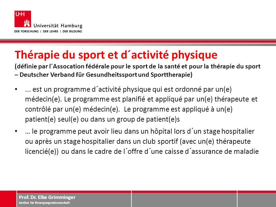 Prof. Dr. Elke Grimminger Institut für Bewegungswissenschaft Thérapie du sport et d´activité physique (définie par l´Assocation fédérale pour le sport