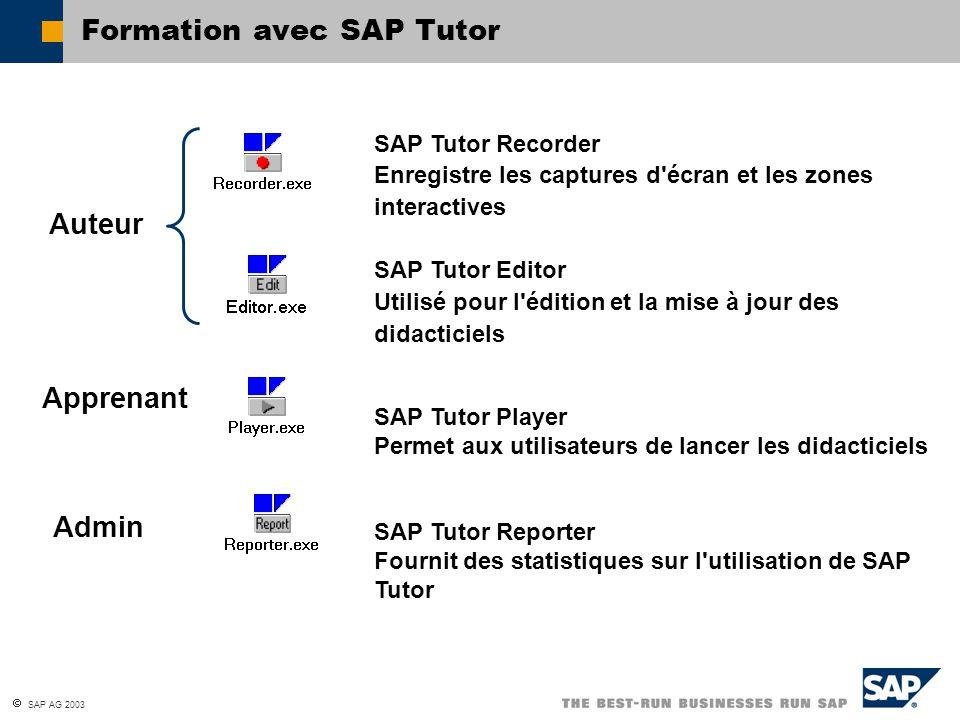  SAP AG 2003 SAP Tutor Recorder Enregistre les captures d écran et les zones interactives SAP Tutor Editor Utilisé pour l édition et la mise à jour des didacticiels SAP Tutor Player Permet aux utilisateurs de lancer les didacticiels SAP Tutor Reporter Fournit des statistiques sur l utilisation de SAP Tutor Auteur Apprenant Admin Formation avec SAP Tutor
