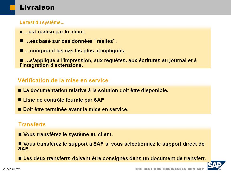  SAP AG 2003 Le test du système... …est réalisé par le client. …est basé sur des données