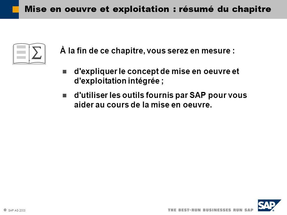  SAP AG 2003 À la fin de ce chapitre, vous serez en mesure : Mise en oeuvre et exploitation : résumé du chapitre d expliquer le concept de mise en oeuvre et d exploitation intégrée ; d utiliser les outils fournis par SAP pour vous aider au cours de la mise en oeuvre.