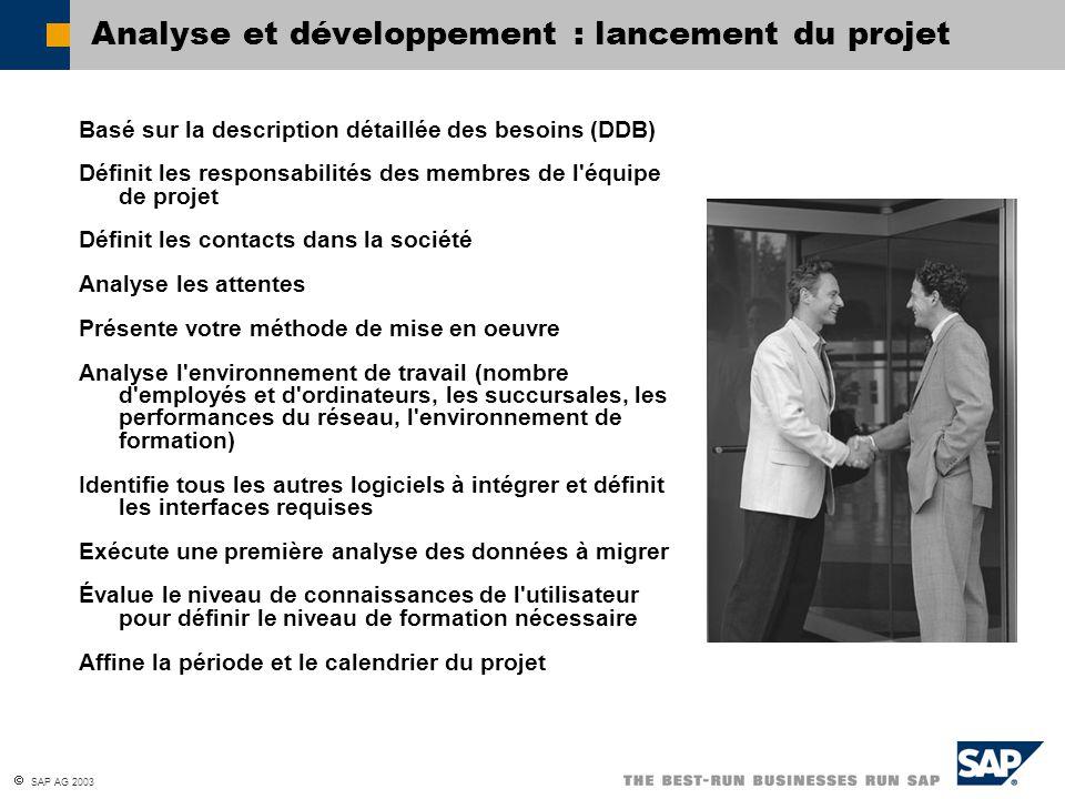  SAP AG 2003 Analyse et développement : lancement du projet Basé sur la description détaillée des besoins (DDB) Définit les responsabilités des membr