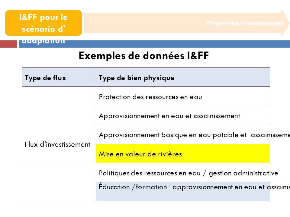 Projeter des investissements 6. Dériver les I&FF pour le scénario d' adaptation Exemples de données I&FF Type de fluxType de bien physique Flux d'inve