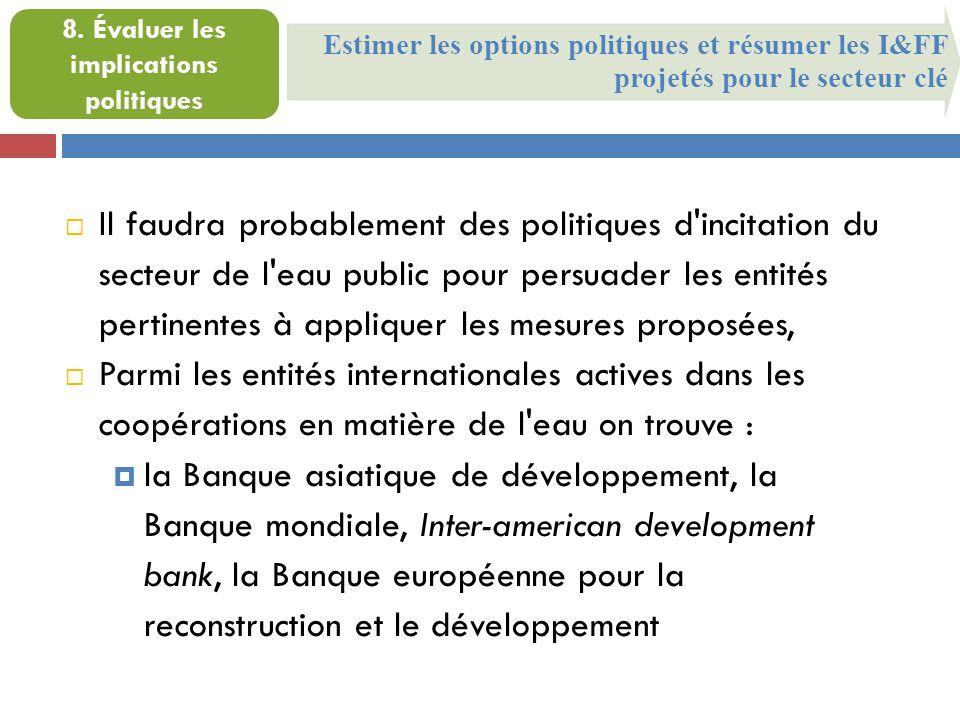 Estimer les options politiques et résumer les I&FF projetés pour le secteur clé 8. Évaluer les implications politiques  Il faudra probablement des po