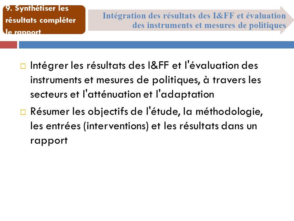 Intégration des résultats des I&FF et évaluation des instruments et mesures de politiques 9. Synthétiser les résultats compléter le rapport  Intégrer