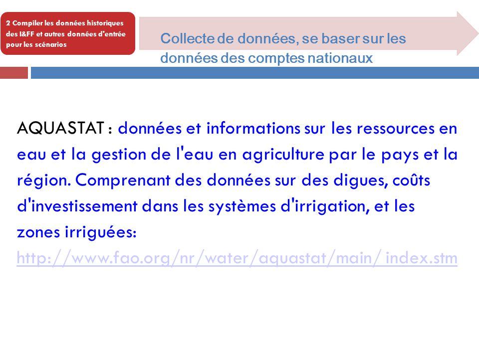 2 Compiler les données historiques des I&FF et autres données d'entrée pour les scénarios Collecte de données, se baser sur les données des comptes na